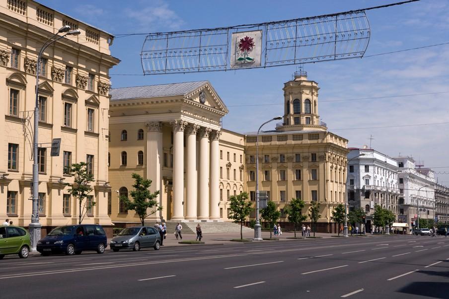 Het hoofdkantoor van de Wit-Russische geheime dienst, de KGB, midden in de Wit-Russische hoofdstad Minsk. Foto: Nick Hannes/Hollandse Hoogte