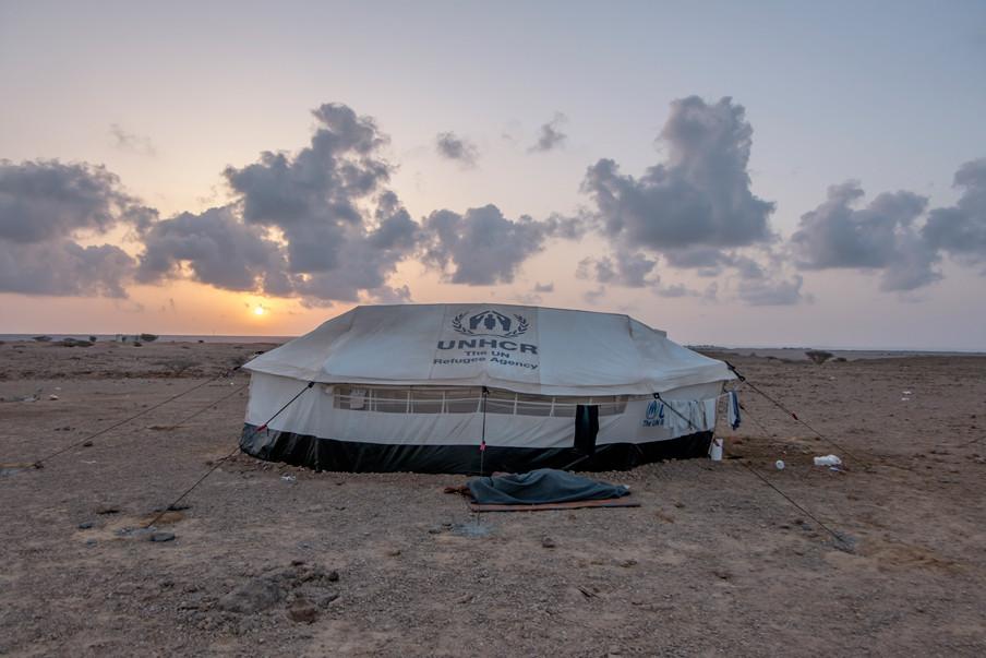 UNCHR leverde de tenten aan het opvangkamp Markazi in Djibouti. Foto: Andreas Stahl