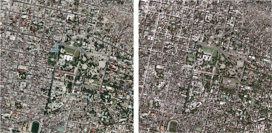 Satellietfoto's van Port-au-Prince voor (links) en na (rechts) de aardbeving. Foto: USGS Hazard Data Distribution System