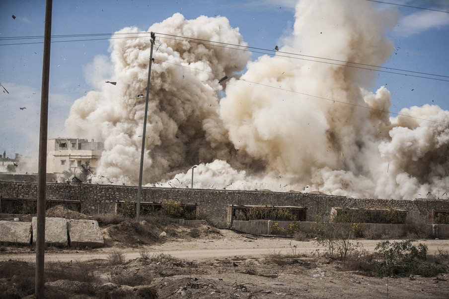 'In november 2014 besluit het leger een bufferzone langs de grens met Gaza in te stellen.' Foto: Ali Hasan / Getty Images