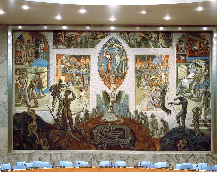 De muurschildering van de Noorse schilder Per Krohg, het decor van de Veiligheidsraad. Foto: United Nations Photo