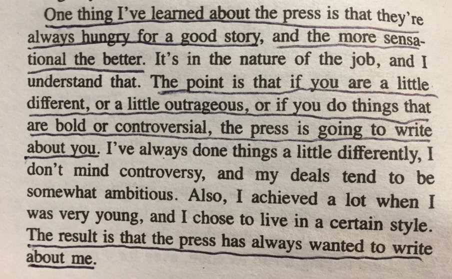 Een paragraaf uit het boek The Art of the Deal (1987) van Donald Trump