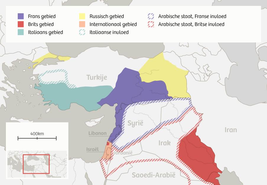 De op 8 mei 1916 door Sykes en Picot getekende 'Europese' grenzen van het Midden-Oosten.