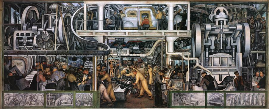 Detroit Industry fresco cyclus - Diego Rivera. Detroit, voormalig bakermat van auto-industrie, consumentisme en arbeidsdrift, bevindt zich in een cyclus waarin herbestemde fabrieken worden omgezet tot ruimtes voor het nieuwe werken. Beeld: Getty Images