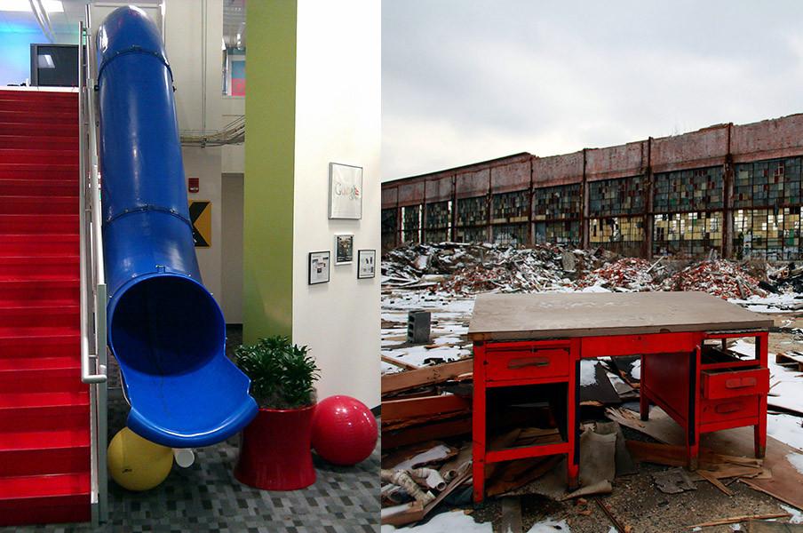 Links: Een glijbaan in het Google-kantoor van Detroit. Beeld: Flickr; Creative Commons. Rechts: Een bureau op het  verlaten industrieterrein van de Packard Automotive Plant, Detroit. Beeld: Getty Images