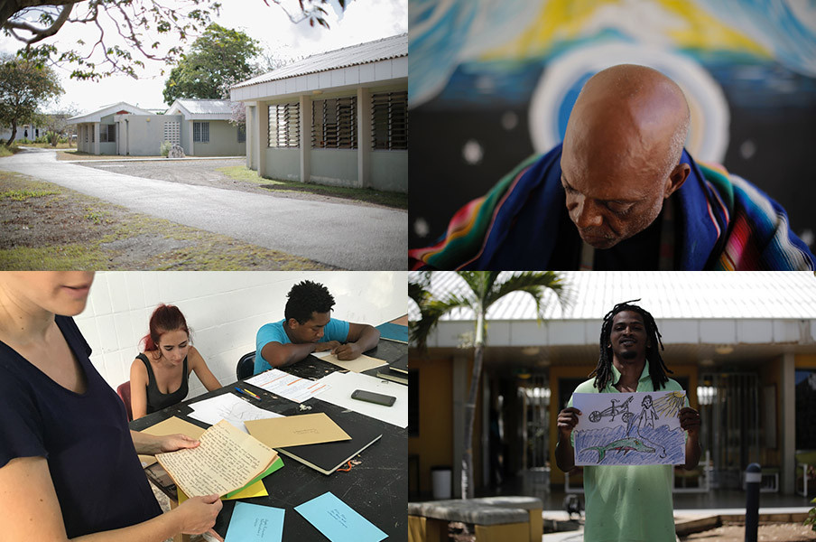 Linksonder: Studenten schrijven vier brieven aan bekende en onbekende (waaronder lokale kunstenaars en politici) waarin ze vertellen over hun ervaringen. De briefontvangers nemen de brieven mee terug naar de vernissage. Foto's: Domenico Mangano