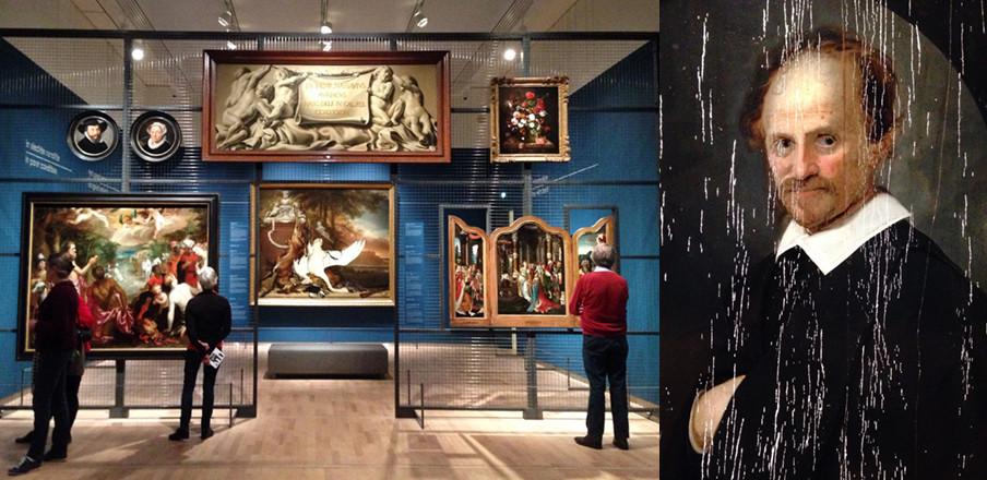 Links: de tentoonstelling 'Hoogte- en dieptepunten uit het depot' in het Mauritshuis. Rechts: Karel Slabbert, Portret van een man, 1653 (detail). Het schilderij verkeert in een te slechte conditie om te tonen, maar is een dure reparatie op dit moment niet waard.