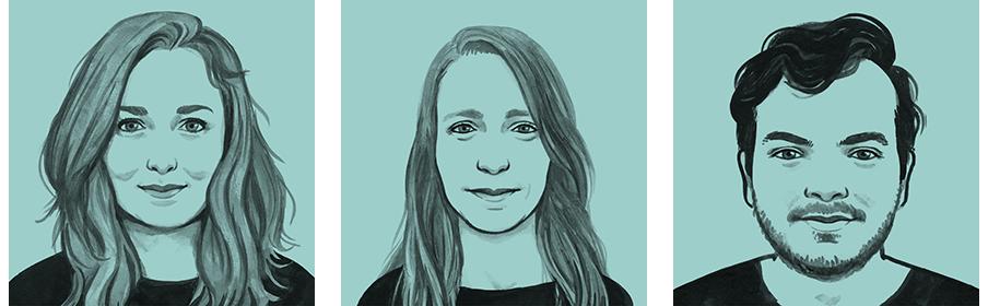 International editor Maaike Goslinga, vertaler Erica Moore en engagement editor Travis Mushett.