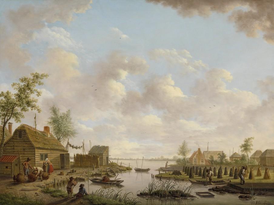 Landschap met vissers en turfstekende boeren in het laagveen door Hendrik Willem Schweickhardt in 1783. Reproductie: Rijksmuseum