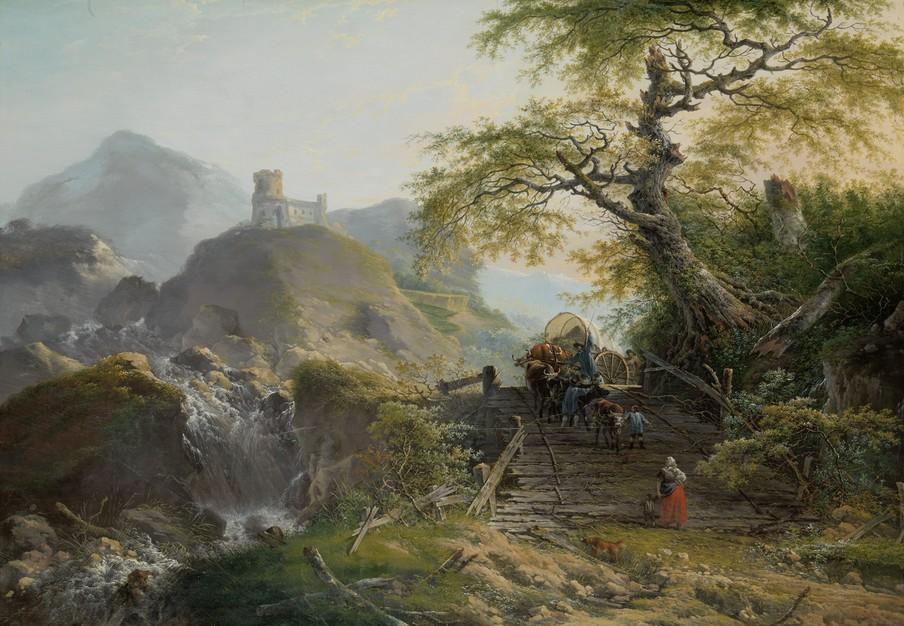 Berglandschap met voerlieden, die een ossenwagen over een oude vervallen houten brug bij een boom drijven. Links een waterval en de ruïne van een kasteel op een heuveltop door Gerard van Nijmegen in 1790. Reproductie: Rijksmuseum