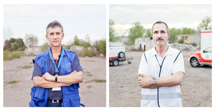 Links: Frieder Kircher EUCTP teamleider  Rechts: Wolfgang Krenn, teamleider Oostenrijkse USAR team. Foto: Pieter van de Boogert