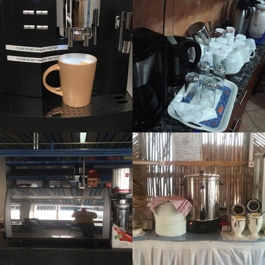 Een greep uit de koffie-automaten die onze VN-medewerkers op hun werk gebruiken. De foto's zijn gemaakt door de zeventien dagboekschrijvers uit dit verhaal.