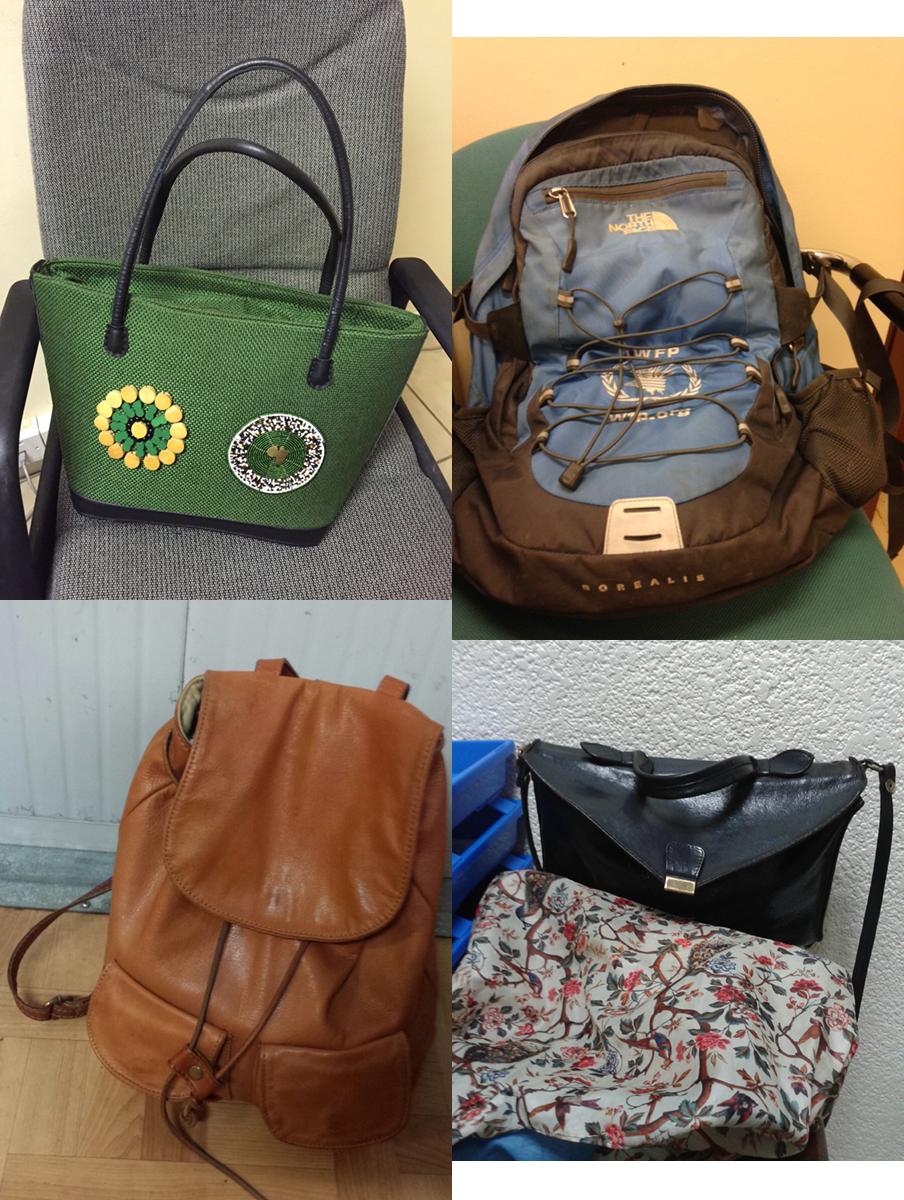Een greep uit de tassen die onze VN-medewerkers naar hun werk meenemen. De foto's zijn gemaakt door de zeventien dagboekschrijvers uit dit verhaal.