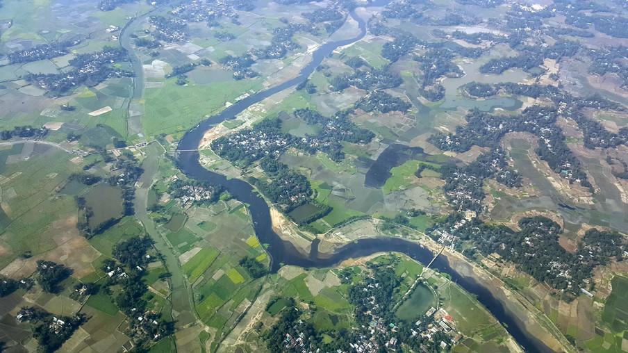 In de delta van Bangladesh lopen het water en het land op een natuurlijke manier in elkaar over.