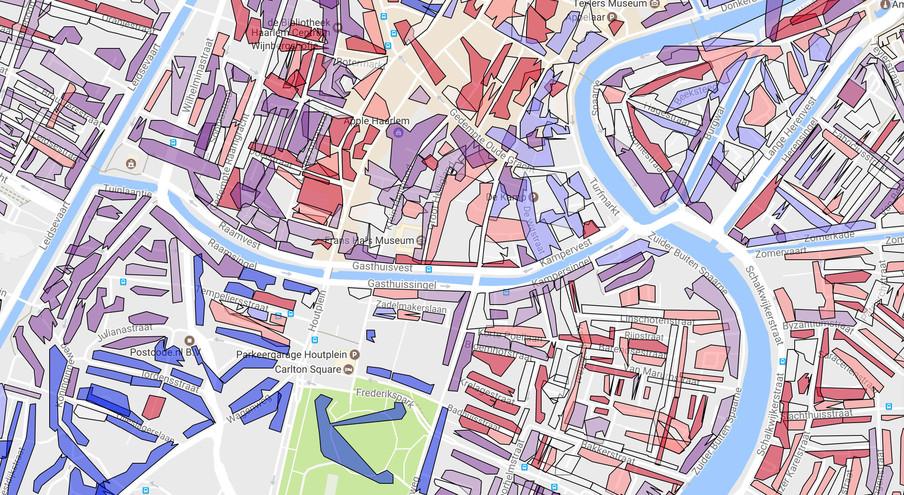 'Deze kaart laat zien of er per postcode voor een specifieke partij sprake is van een vaste achterban (blauw en lichtblauw), verborgen potentieel  (paars en licht paars) en een erg lage kans om kiezerspotentieel aan te treffen (rood en licht rood). Hierop kan de campagne worden aangepast.' Beeld: Politieke Academie