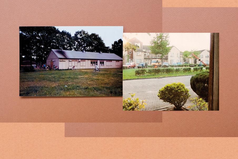 Een barak in kamp Vught, waar kinderen spelen. Daarnaast de wijk waar Charisma Pical zelf speelde, in Vught. Collage: Amber Toorop (voor De Correspondent)