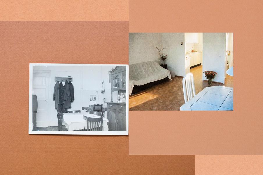 De eethoek in de barak waar de opa en oma van Charisma Pical aten, en haar oude woonkamer. Collage: Amber Toorop (voor De Correspondent)
