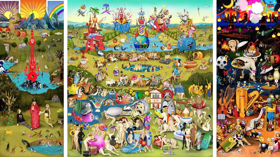 'The Garden of Emoji Delights' van Carla Gannis ©, een moderne interpretatie van 'De Tuin der Lusten' / 'The Garden of Earthly Delights' (1503 - 1513) van Jheronimus Bosch.