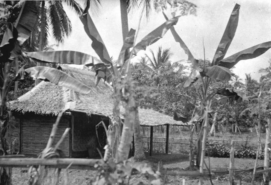 Een huis in de kampong nabij Tandjong-Priok omgeven door bananenbomen. Foto: Collectie Tropenmuseum