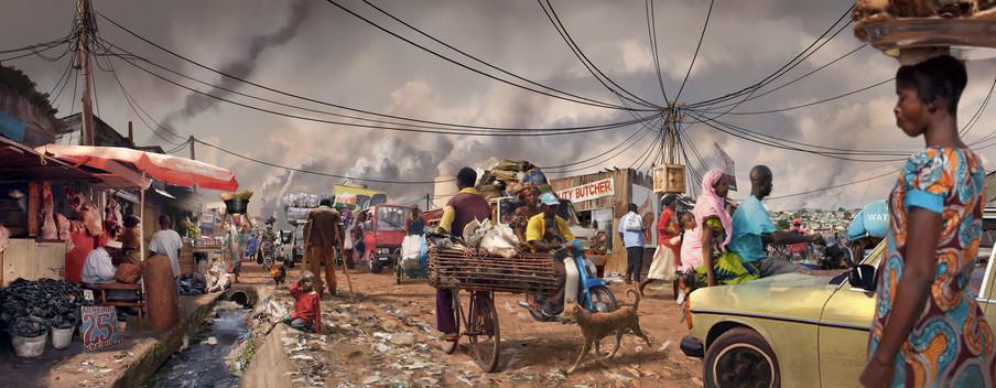 Een fictieve Afrikaanse stad anno 2017 door Blake Robinson en Karl Schulschenk.