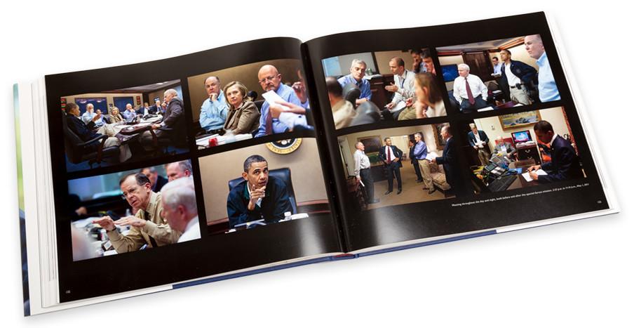 Boven: de beroemdste foto van Pete Souza getiteld The Situation Room Photo op 11 mei 2011 toen Osama bin Laden werd gepakt. Onder: de foto's die Pete Souza voor en na dat belangrijke moment maakte. Foto's: Pete Souza