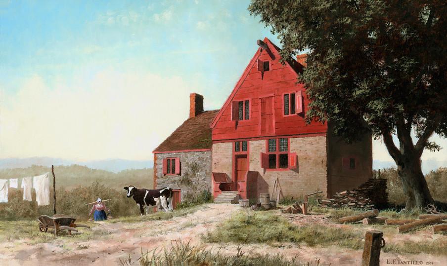 De Nederlandse boerderij van Peter Winne in de buurt van Selkirk, circa 1725. 'The Winne House', geschilderd door Len Tantillo.