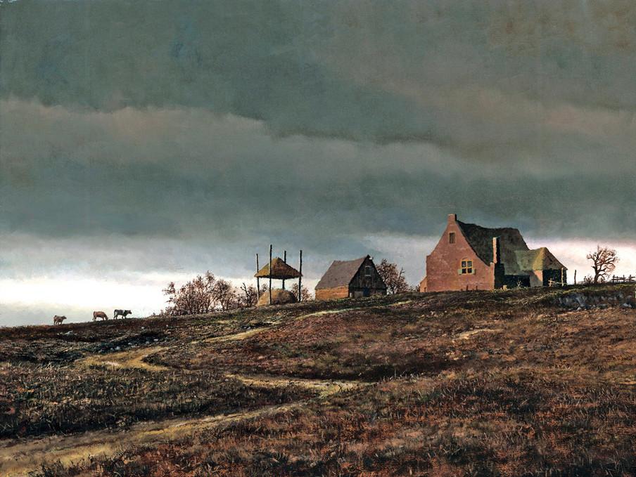 Nederlandse boerderij, Rensselaer County, circa 1690. 'House on a Hill', geschilderd door Len Tantillo.