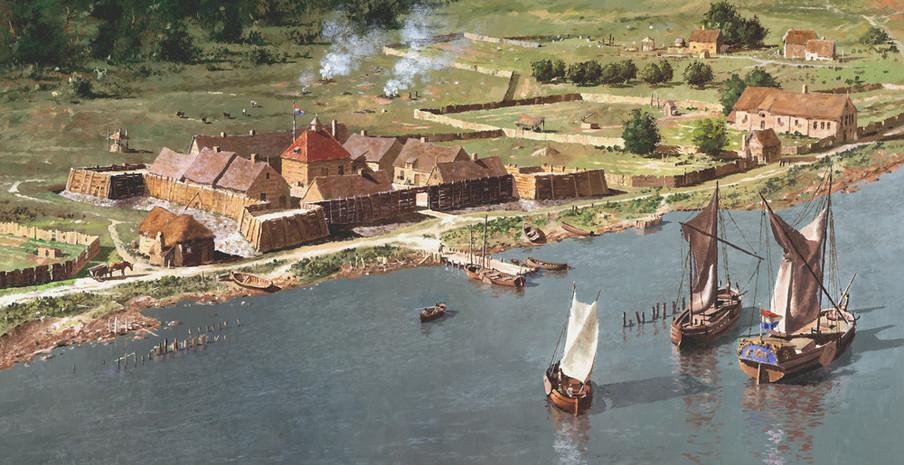 Buiten de muren van Fort Oranje lag Beverwijck. 'Fort Orange and the Patroon's House', geschilderd door Len Tantillo.
