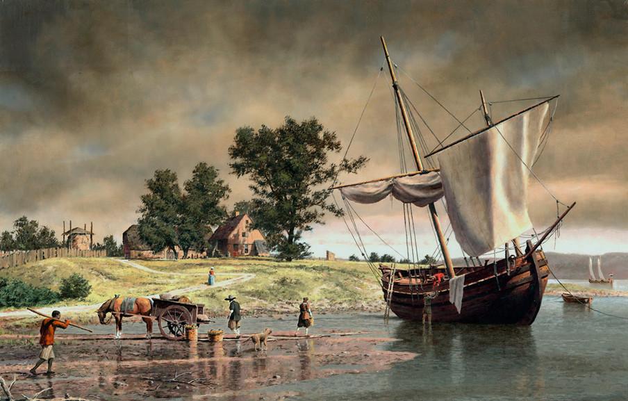 Een Nederlandse boerderij gelegen in de nabijheid van de huidige haven van Albany in Albany, New York. 'Castle Island, 1645', geschilderd door Len Tantillo.