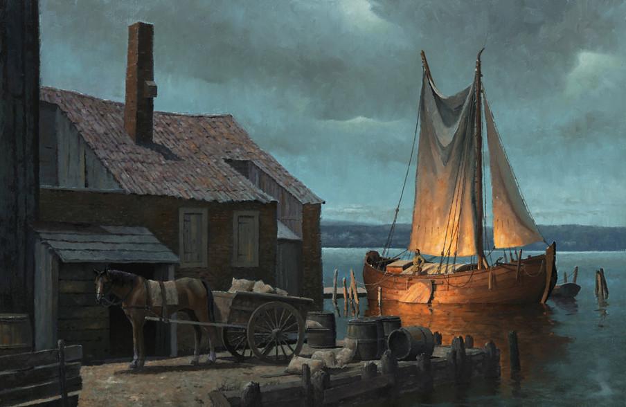 Een Nederlandse veerboot in de Hudsonrivier, circa 1650. 'Hudson River Nocturne', geschilderd door Len Tantillo.