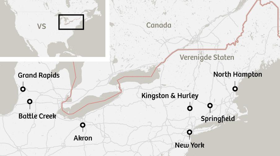 Steden in de VS waar Sojourner Truth woonde of haar toespraken hield