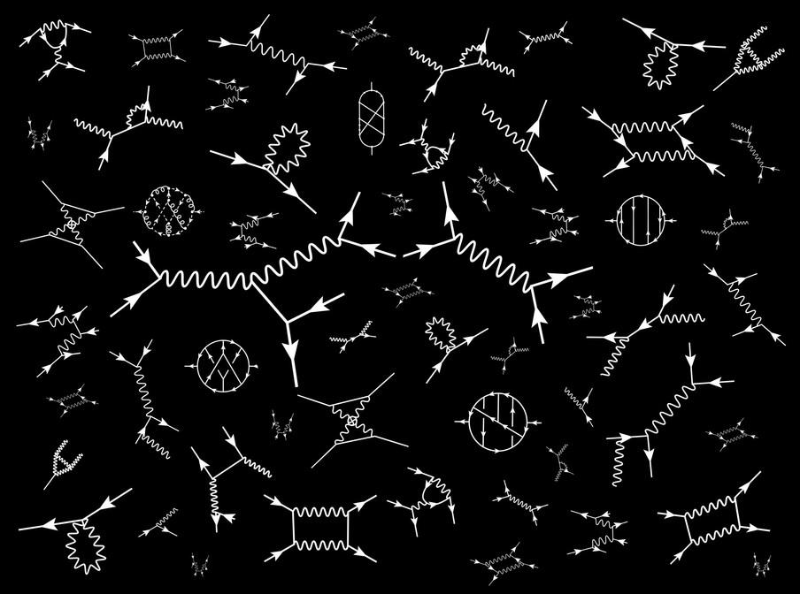 Zogeheten Feynman diagrammen, visuele voorstellingen van wiskundige uitdrukkingen die het gedrag van subatomaire deeltjes beschrijven. Uit het fotoboek 'Universe - Facts in the post-truth era' door Jos Jansen.