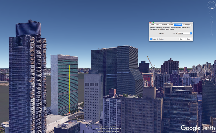 You can use Google Earth to measure a building. Here, we've used the UN building in New York as an example. In Google Earth Pro, you can use a ruler (the yellow line) to find a building's dimensions, or to calculate the floor you'll end up on if you go up a hundred yards.