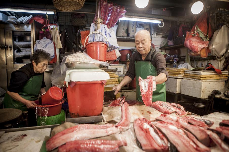 De vismarkt van Hongkong. Dieren uit alle wereldzeeën, beschermd of niet, zijn hier te koop. Foto: Florian Buettner