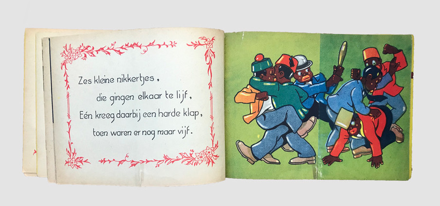 Dit kinderboek vol racistische karikaturen heet Tien kleine n******tjes en is gebaseerd op het gelijknamige lied. In veel Europese landen zijn variaties op deze Nederlandse versie uitgegeven en verkocht.