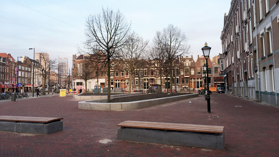 Het pleintje nu. Foto: Arjen van Veelen