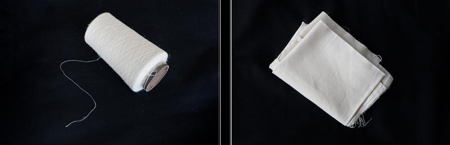 Verschillende stadia in het productieproces. Bij bovenstaande testjes wordt katoen toegevoegd aan de hennep om de stof soepel te maken. Deze stof bevat circa 40% hennep. Foto: Anoek Steketee (voor De Correspondent)