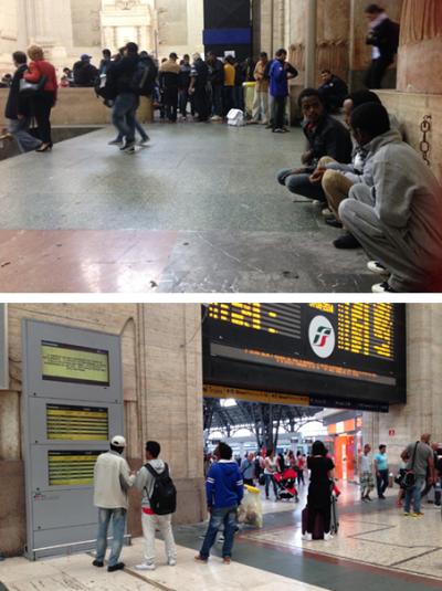 Op het station in Milaan