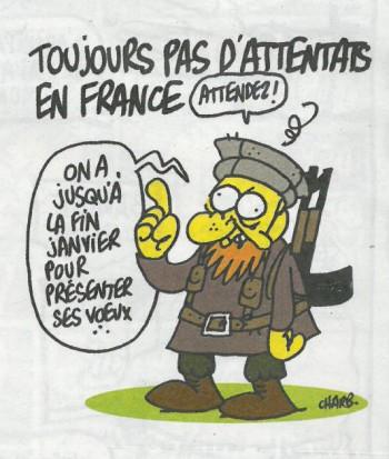 Nog altijd geen aanslagen in Frankrijk. 'Wacht! We hebben nog tot eind januari om onze beste wensen aan te bieden.' Beeld: uit Charlie Hebdo