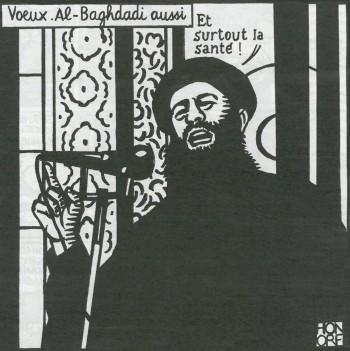 De beste wensen van Al-Baghdadi. 'En vooral een goede gezondheid!' Beeld: uit Charlie Hebdo