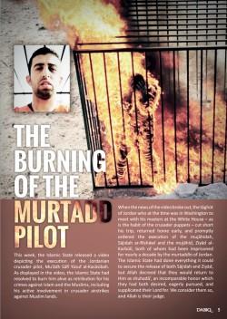 Screenshot van een artikel in 'Dabiq', over de door ISIS verbrande piloot.