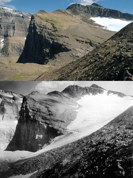 De Chaney-gletsjer in Montana (Verenigde Staten). Boven in 2005, onder in 1911. Foto's: ANP