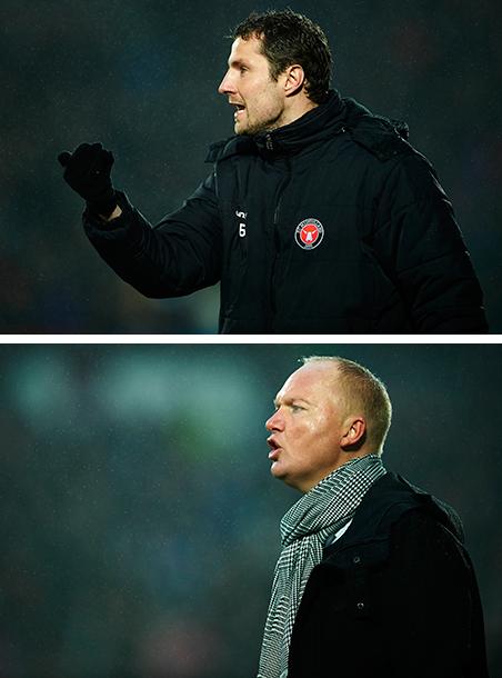 Boven: Brian Priske, assistent-coach van FC Midtjylland. Onder: Glen Riddersholm, coach van dezelfde club. Foto's: Jan Christensen / Getty Images