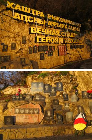 Iets buiten de Abchazische hoofdstad Soechoem een herdenkingsmonument voor de Abchaziërs die hier omkwamen tijdens de oorlog van 1992-1993. De tekst luidt: 'Eeuwige glorie aan de helden van Abchazië.' Foto's: Floris Akkerman