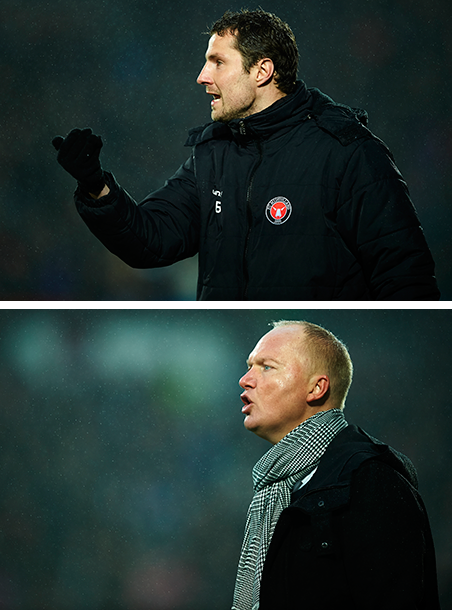 Top: Brian Priske, assistent-coach of FC Midtjylland. Bottom: Glen Riddersholm, coach. Photos: Jan Christensen / Getty Images