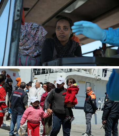 11 april 2015: nieuwe vluchtelingen komen aan op Lampedusa. Foto's: Stefano Bertacchini/IKON