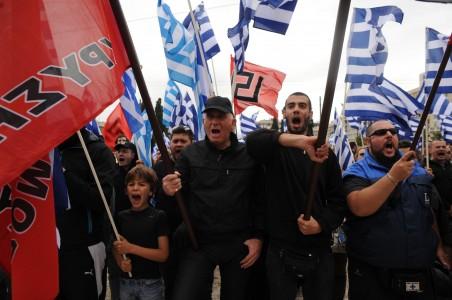 4 juni 2014: Demonstratie van de Gouden Dageraad in Athene. Foto: Maro Kouri