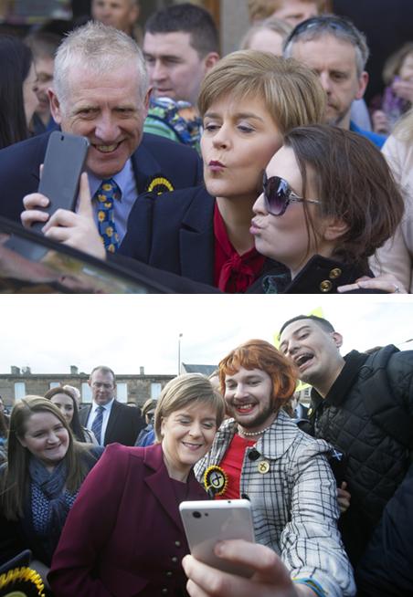Nicola Sturgeon, leider van de SNP, gaat op de foto met haar kiezers. Foto's: Hollandse Hoogte