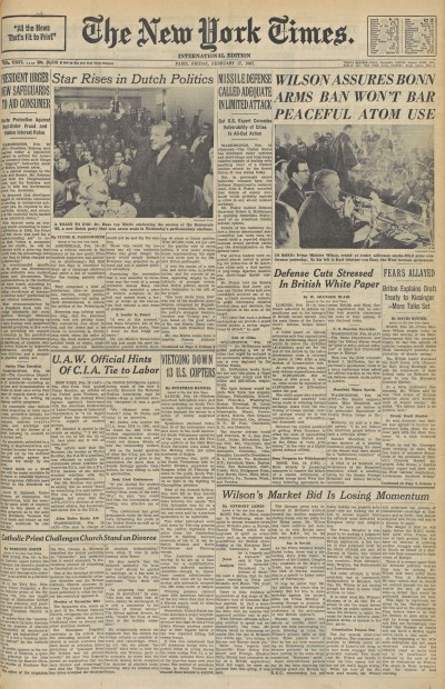 Voorpagina van The New York Times, 17 februari 1967.