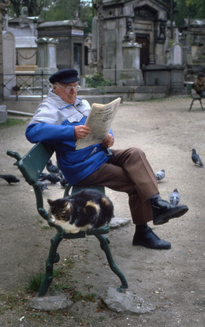 Een krantenlezer in Parijs, uit de tentoonstelling 'Krantenlezers' van Eddy Posthuma de Boer.